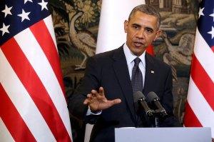 U.S. President Obama addresses during a press conference at Belveder Palace in Warsaw