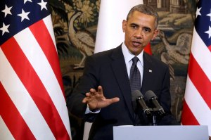 U.S. President Obama addresses during a press conference at Belveder Palace in Warsaw